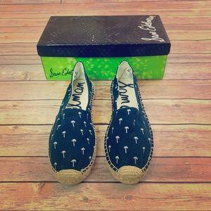 Sam Edelman Navy palm canvas slip on shoes size 8m